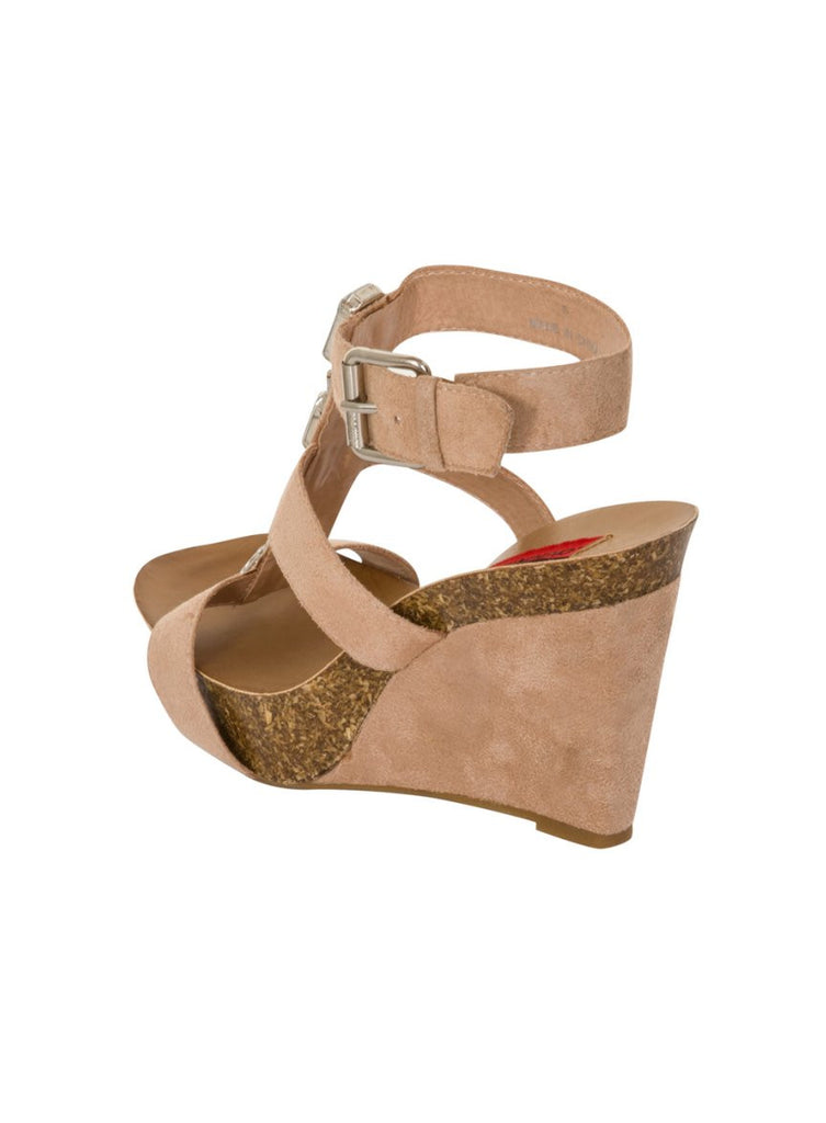 London Rebel | Peri Nude Wedge Sandal | Back Three Quarter