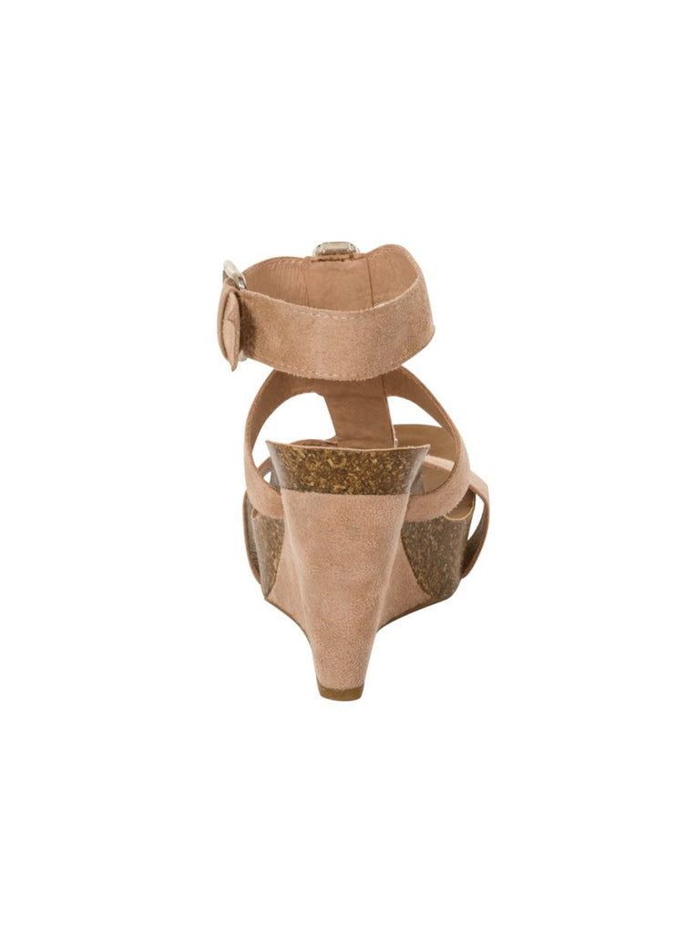 London Rebel | Peri Nude Wedge Sandal | Back View