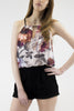 London Rebel | Playtime Floral/Black Playsuit | Lifestyle Image Close Up