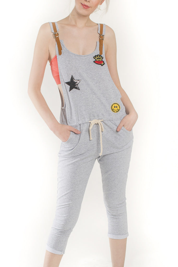 London Rebel | Queeny Grey Playful Drawstring Dungaree | Lifestyle Image Close Up