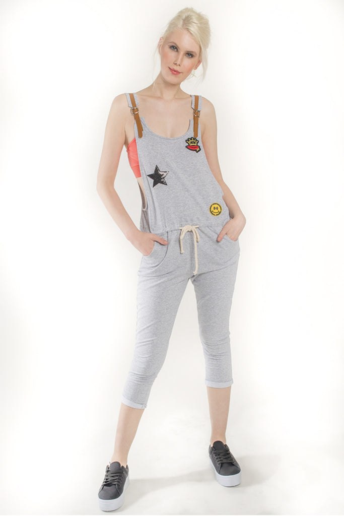 London Rebel | Queeny Grey Playful Drawstring Dungaree | Lifestyle Image