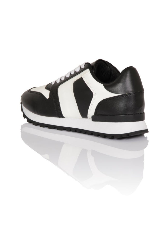 London Rebel | Run It Black and White Lace Up Trainers | Back Three Quarter