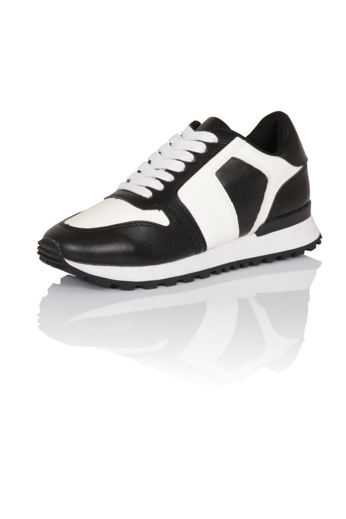 London Rebel | Run It Black and White Lace Up Trainers | Front Three Quarter