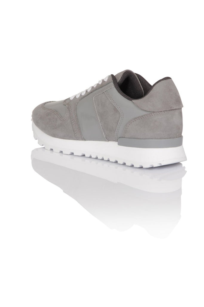 London Rebel | Run It Grey Lace Up Trainers | Back Three Quarter
