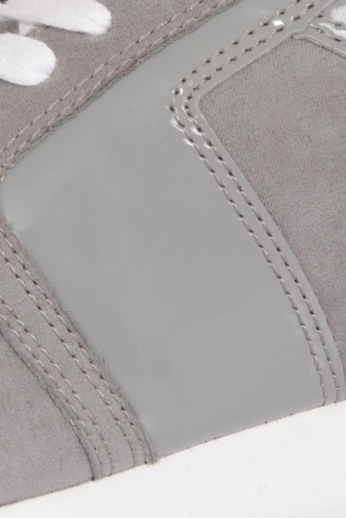 London Rebel | Run It Grey Lace Up Trainers | Close Up