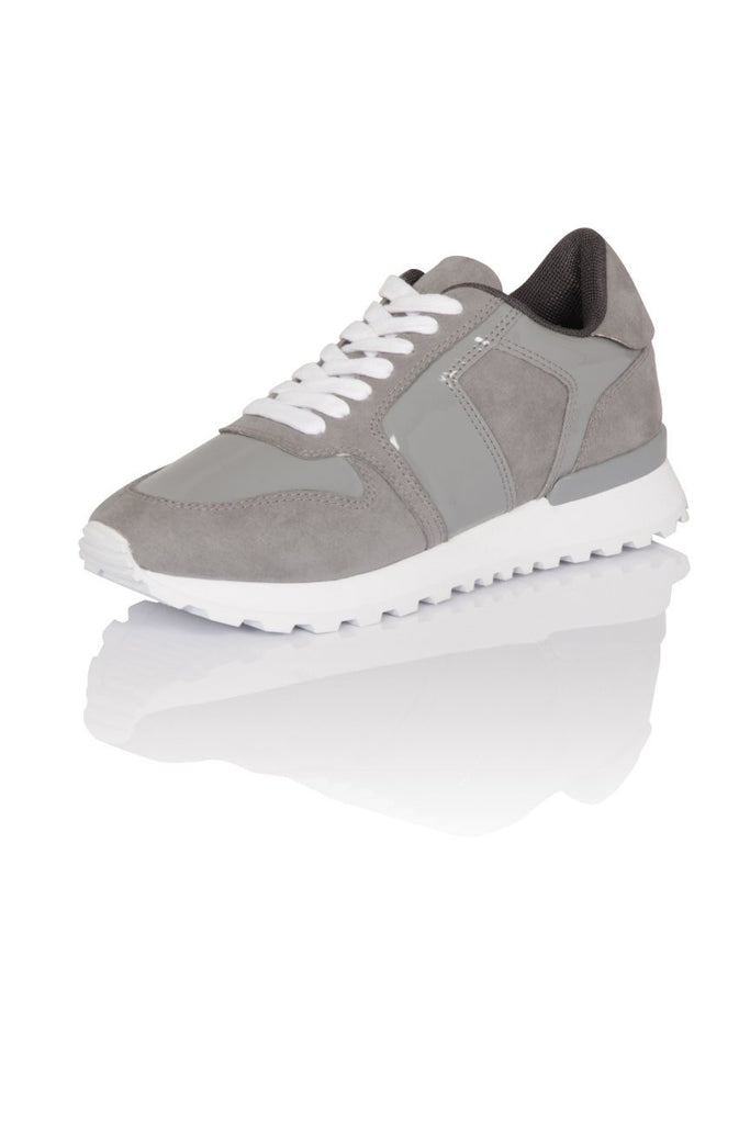 London Rebel | Run It Grey Lace Up Trainers | Front Three Quarter