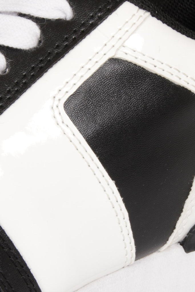 London Rebel | Run It Black and White Lace Up Trainers | Close Up