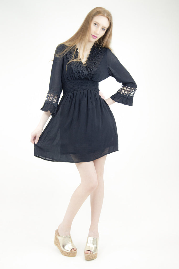 London Rebel | Shelly Black Gypsy Dress | Lifestyle Image