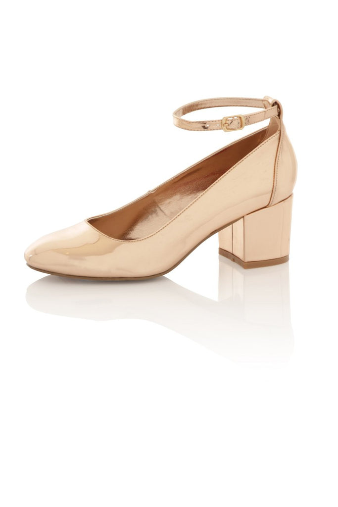 London Rebel | Sally Rose Gold Block Heel | Front Three Quarter
