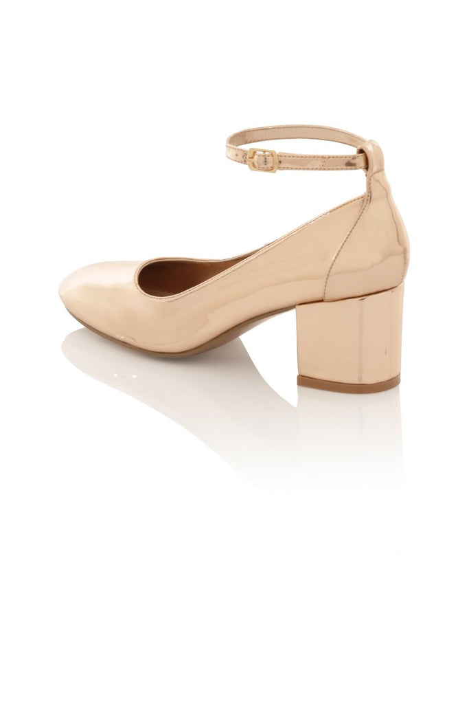 London Rebel | Sally Rose Gold Block Heel | Back Three Quarter