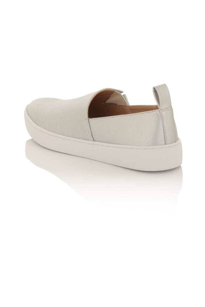 London Rebel | Salt Slip On Plimsole | Back Three Quarter