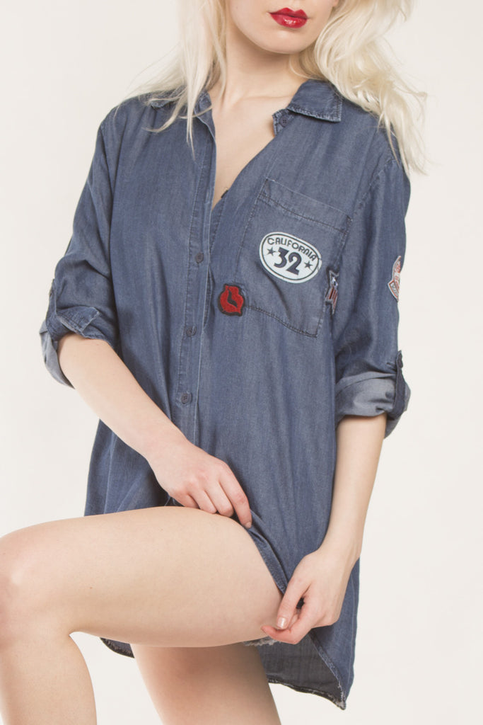London Rebel | Senna Oversized Denim Shirt with badges | Lifestyle Image Close Up