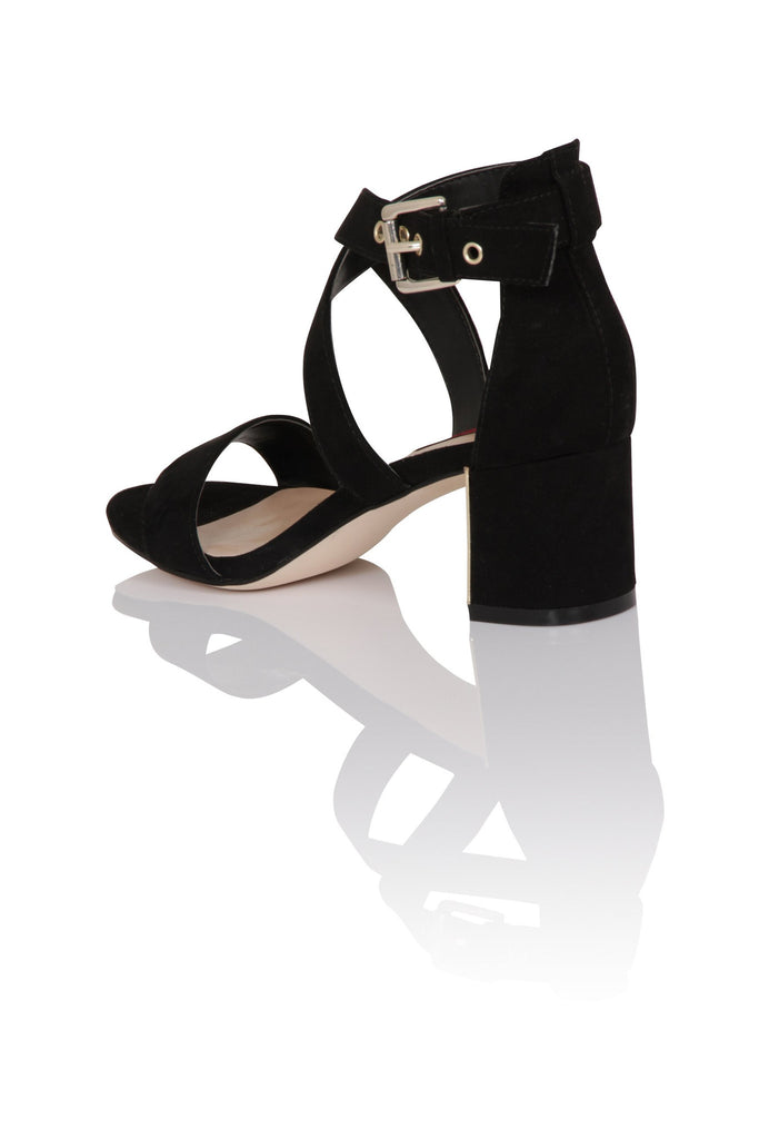 London Rebel | Shenay Black Block Heel Sandal | Back Three Quarter