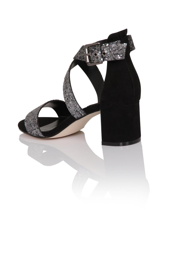 London Rebel | Shenay Pewter Glitter Block Heel Sandal | Back Three Quarter