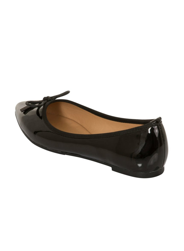 London Rebel | Sophie Black Point Toe Ballerina | Back Three Quarter