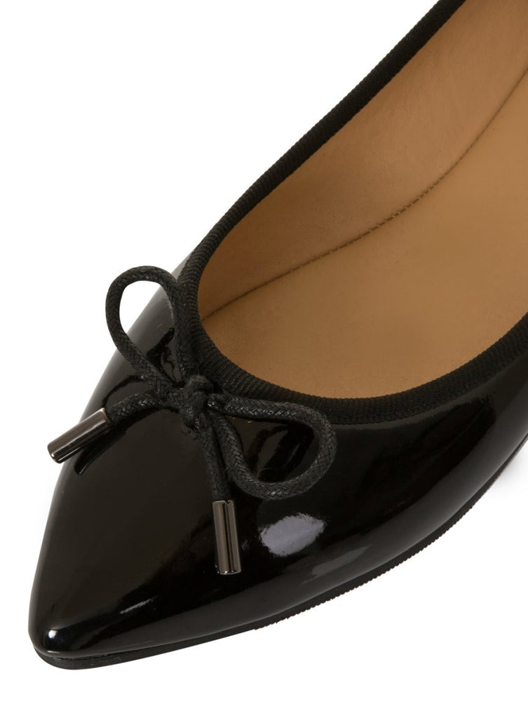 London Rebel | Sophie Black Point Toe Ballerina | Front Three Quarter Close Up