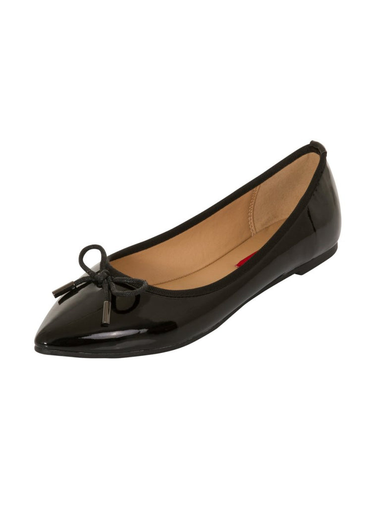 London Rebel | Sophie Black Point Toe Ballerina | Front Three Quarter