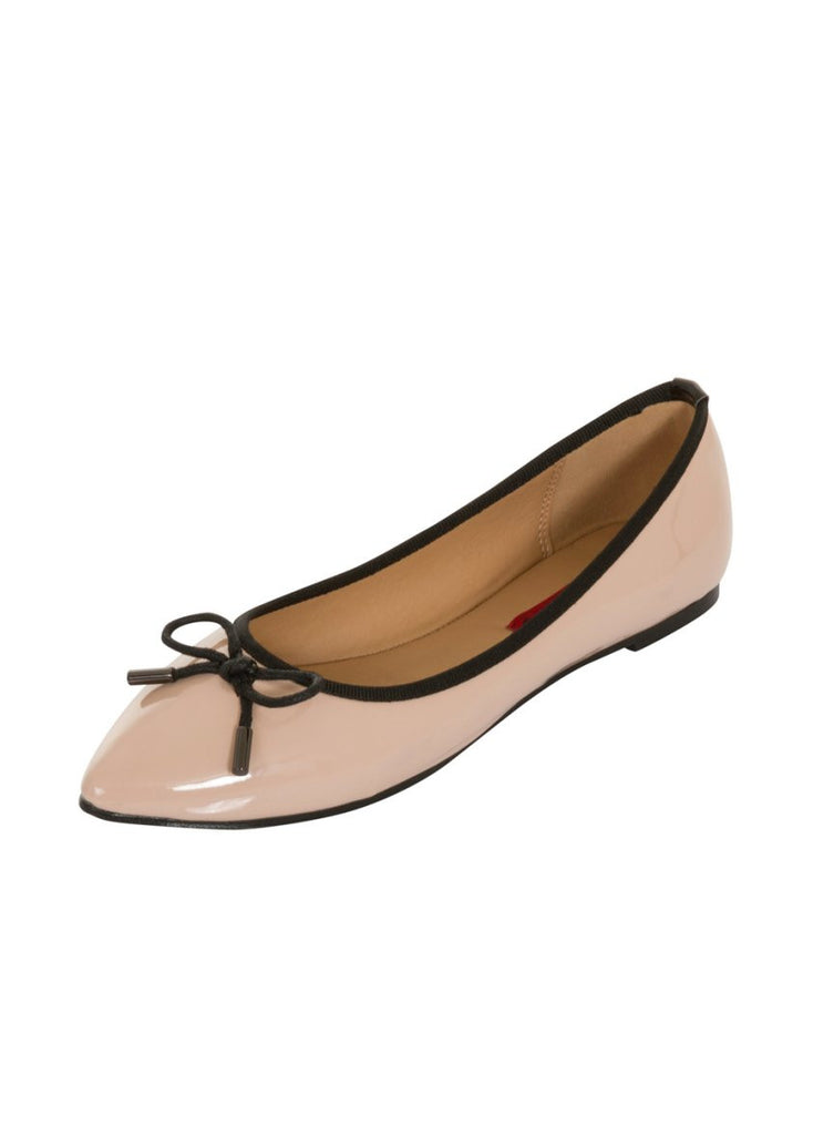 London Rebel | Sophie Nude Point Toe Ballerina | Front Three Quarter