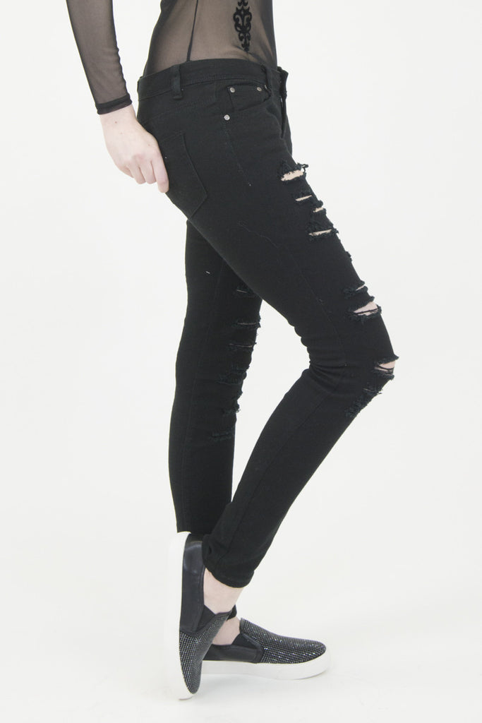 London Rebel | Sue Black Ripped Jeans | Lifestyle Image Side Close Up