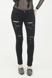 London Rebel | Sue Black Ripped Jeans | Lifestyle Image Front Close Up