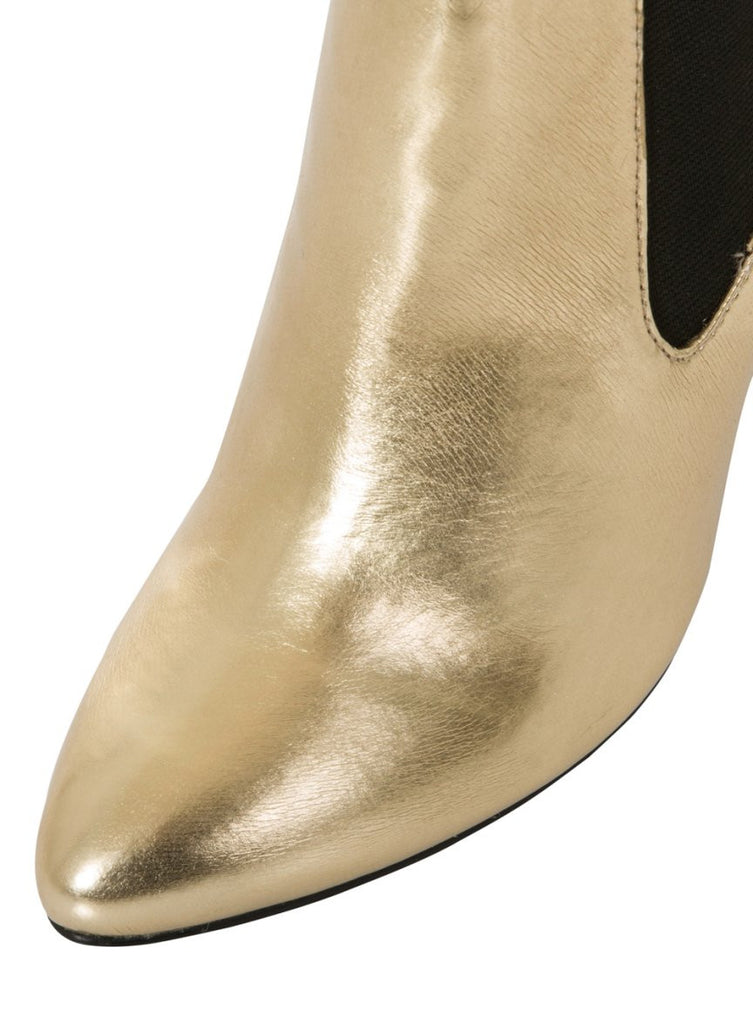 London Rebel | Tidy Gold Chelsea Boots | Front Three Quarter Close Up