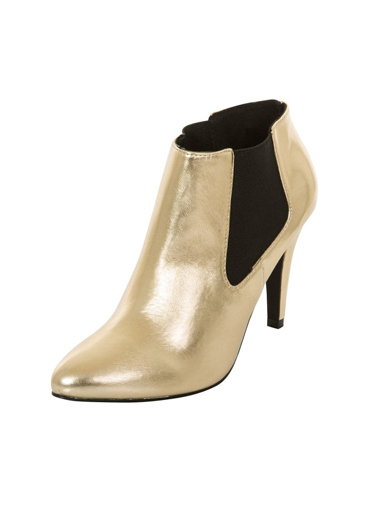 London Rebel | Tidy Gold Chelsea Boots | Front Three Quarter