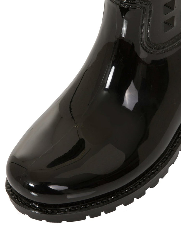 London Rebel | Tucker Black Wellies | Front Three Quarter Close Up