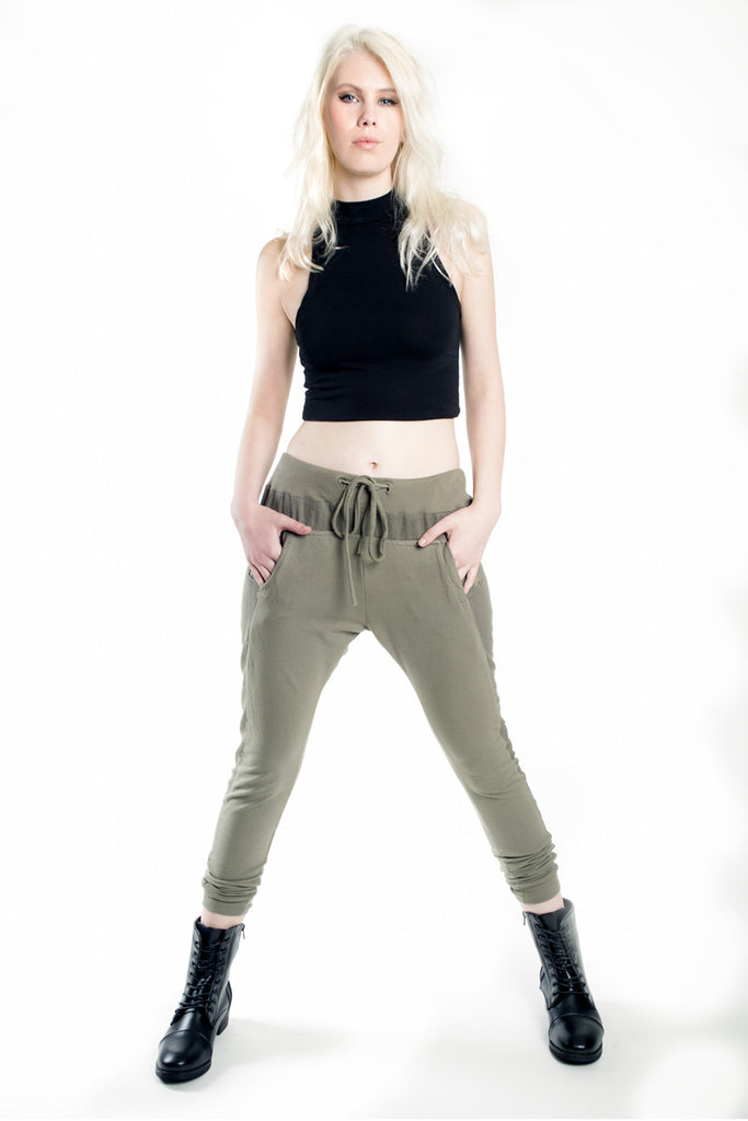 London Rebel | Vera Jo Khaki Drawstring Trousers | Lifestyle Image