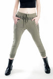 London Rebel | Vera Jo Khaki Drawstring Trousers | Lifestyle Image Close Up