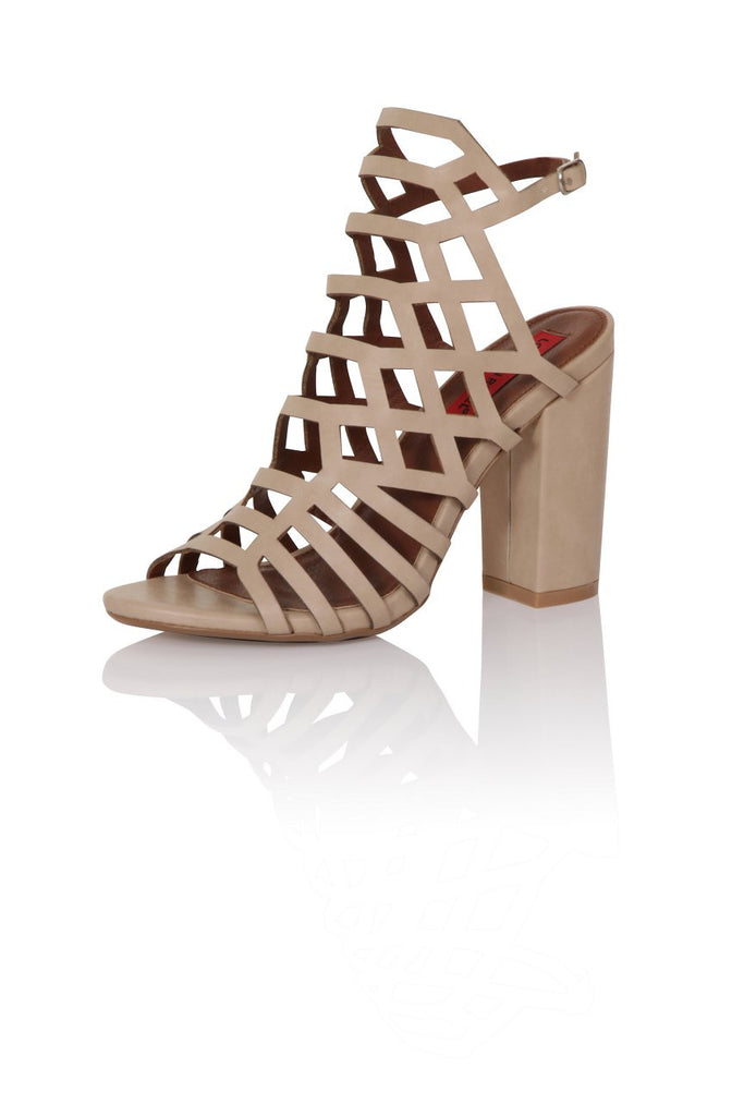 London Rebel | Veronica Nude Gladiator Sandals | Front Three Quarter