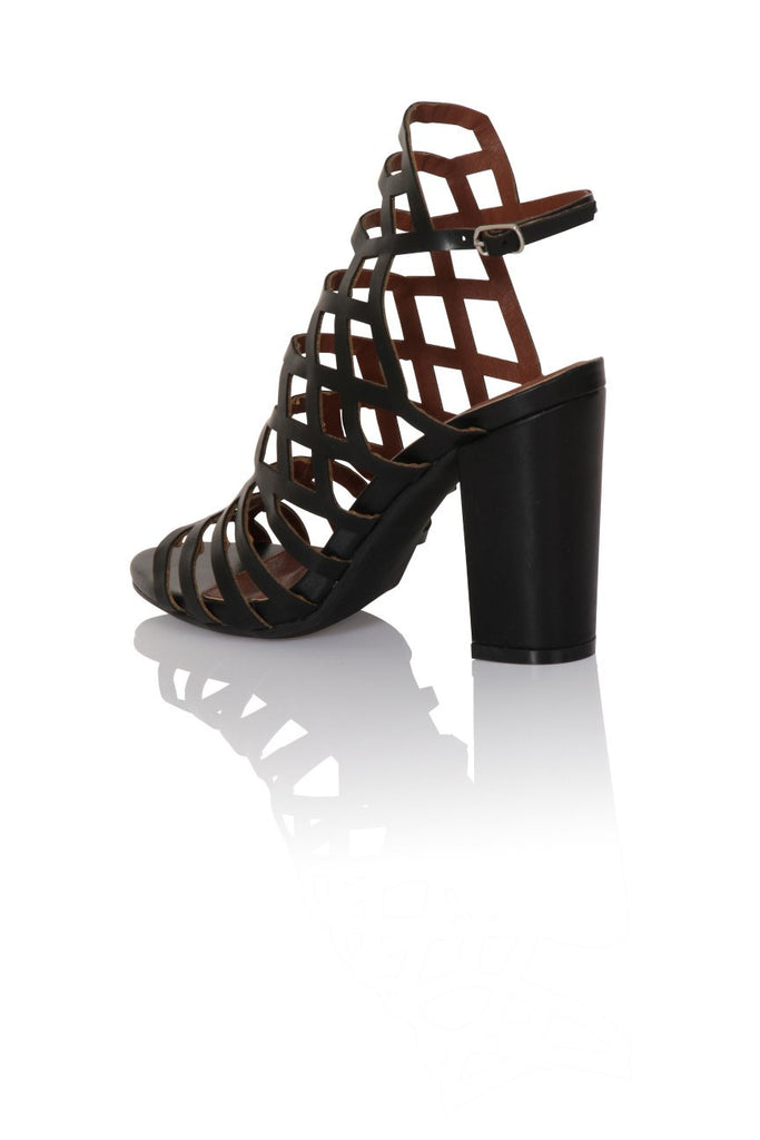 London Rebel | Veronica Black Gladiator Sandals | Back Three Quarter