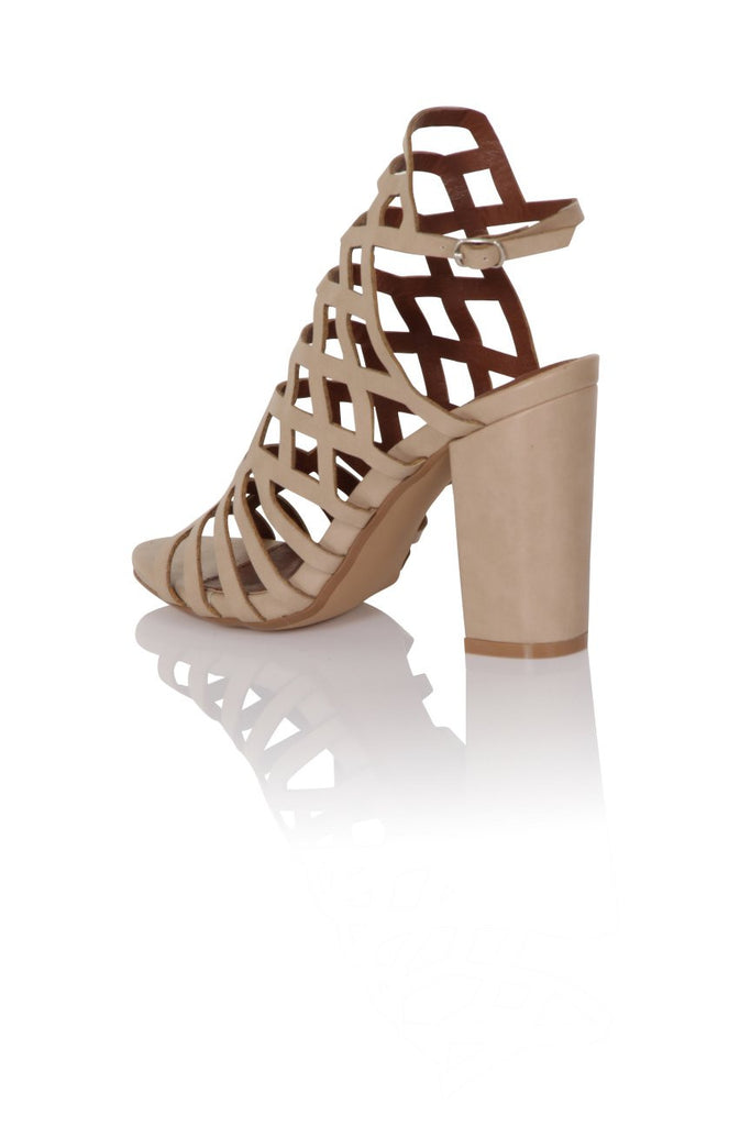 London Rebel | Veronica Nude Gladiator Sandals | Back Three Quarter