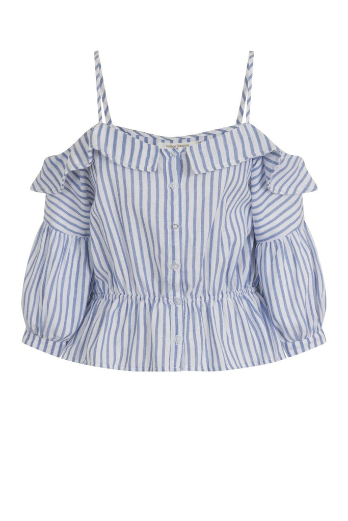 London Rebel | Zora Blue White Stripe Cold Shoulder Blouse | Front View