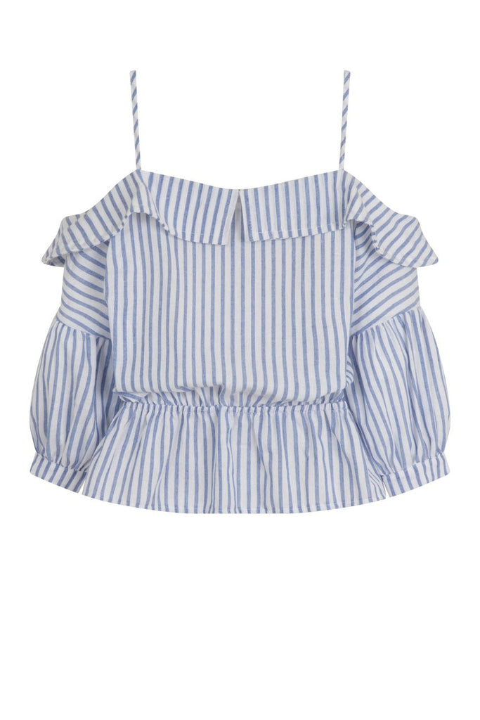 London Rebel | Zora Blue White Stripe Cold Shoulder Blouse | Back View
