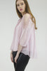 London Rebel | Candice Blush Cold Shoulder Silk Blouse | Lifestyle Image Side View