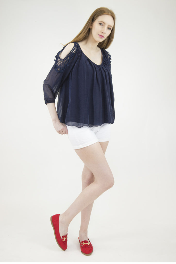 London Rebel | Candice Navy Cold Shoulder Silk Blouse | Lifestyle Image