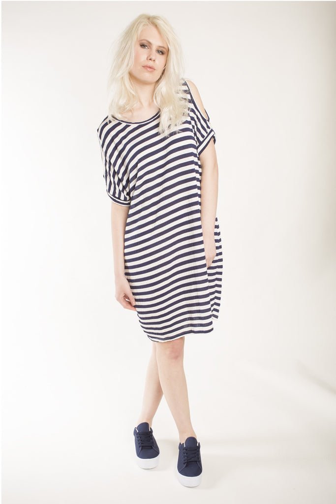 London Rebel | Katy Navy/White Stripe Loose Fit Jersey Dress | Lifestyle Image
