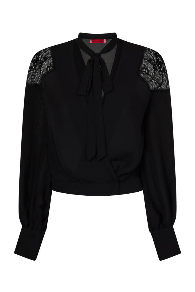 London Rebel | Coco Blouse with Lace Shoulder | Front View