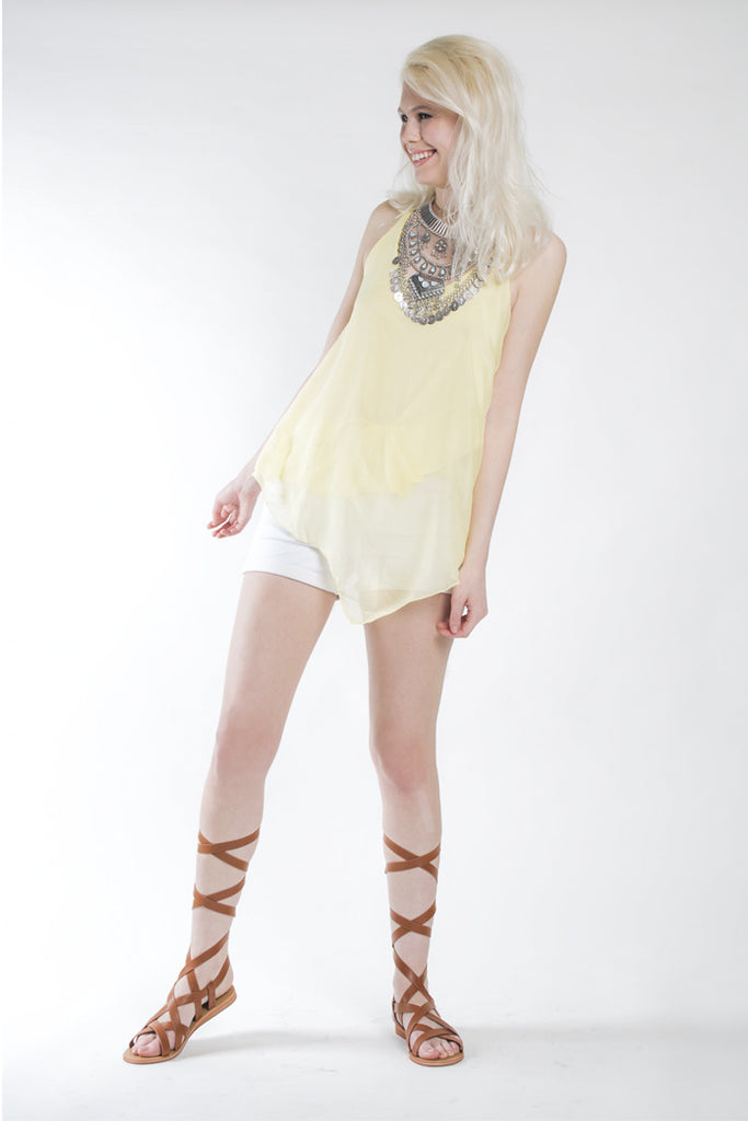 London Rebel | Mellow Yellow String Camisole Top | Lifestyle Image
