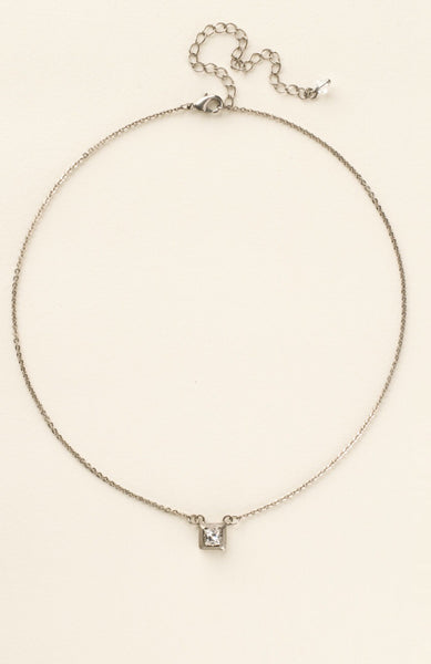Sorrelli Metal and Crystal Square Pendant Necklace