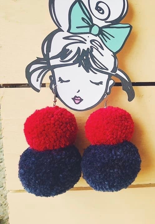 Red and Blue Pom Earrings