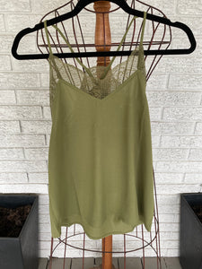 Olive lace cami
