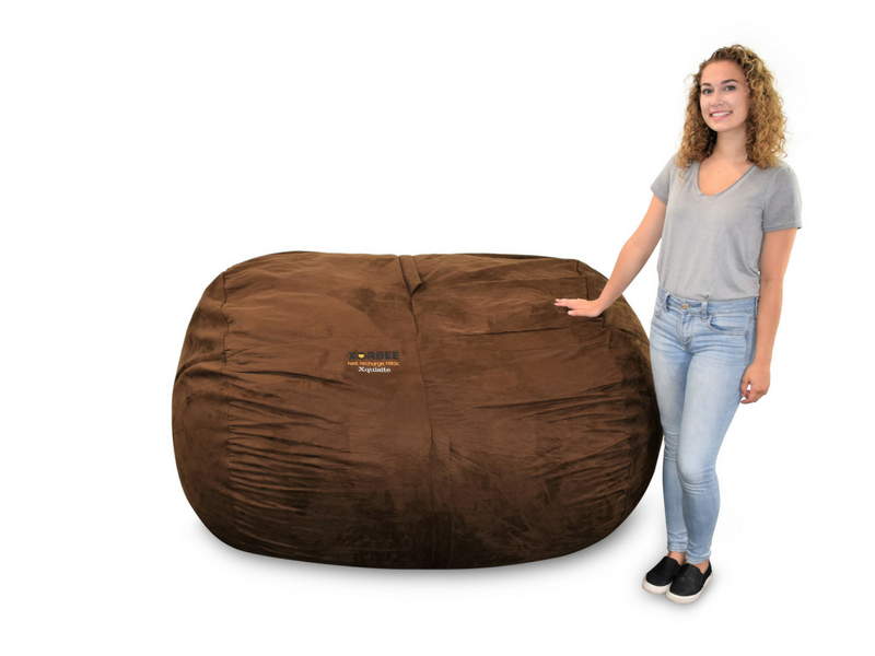 Enjoyable 6 Foot Foam Filled Bean Bag Lounger Microsuede Cocoa Brown Pabps2019 Chair Design Images Pabps2019Com