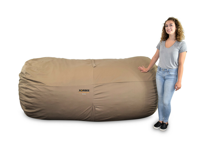 Phenomenal 8 Foot Foam Filled Bean Bag Lounger Twill Cafe Tan Machost Co Dining Chair Design Ideas Machostcouk