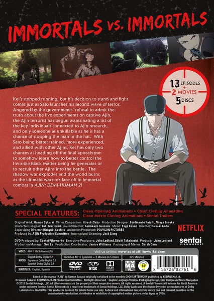 Ajin: Demi-Human Season 2 Complete Collection DVD Back Cover