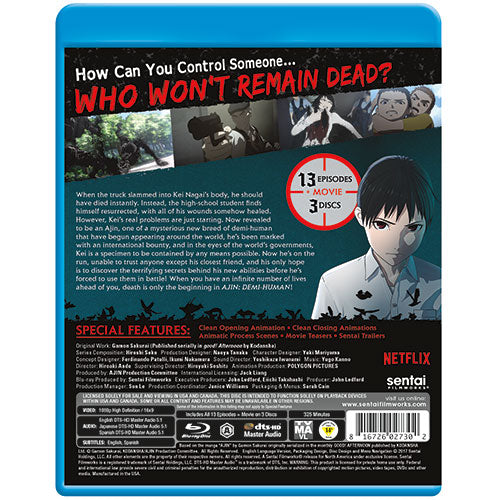 Ajin: Demi-Human Complete Collection Blu-ray Back Cover