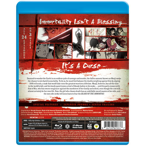 Blade of the Immortal Complete Collection Blu-ray Back Cover