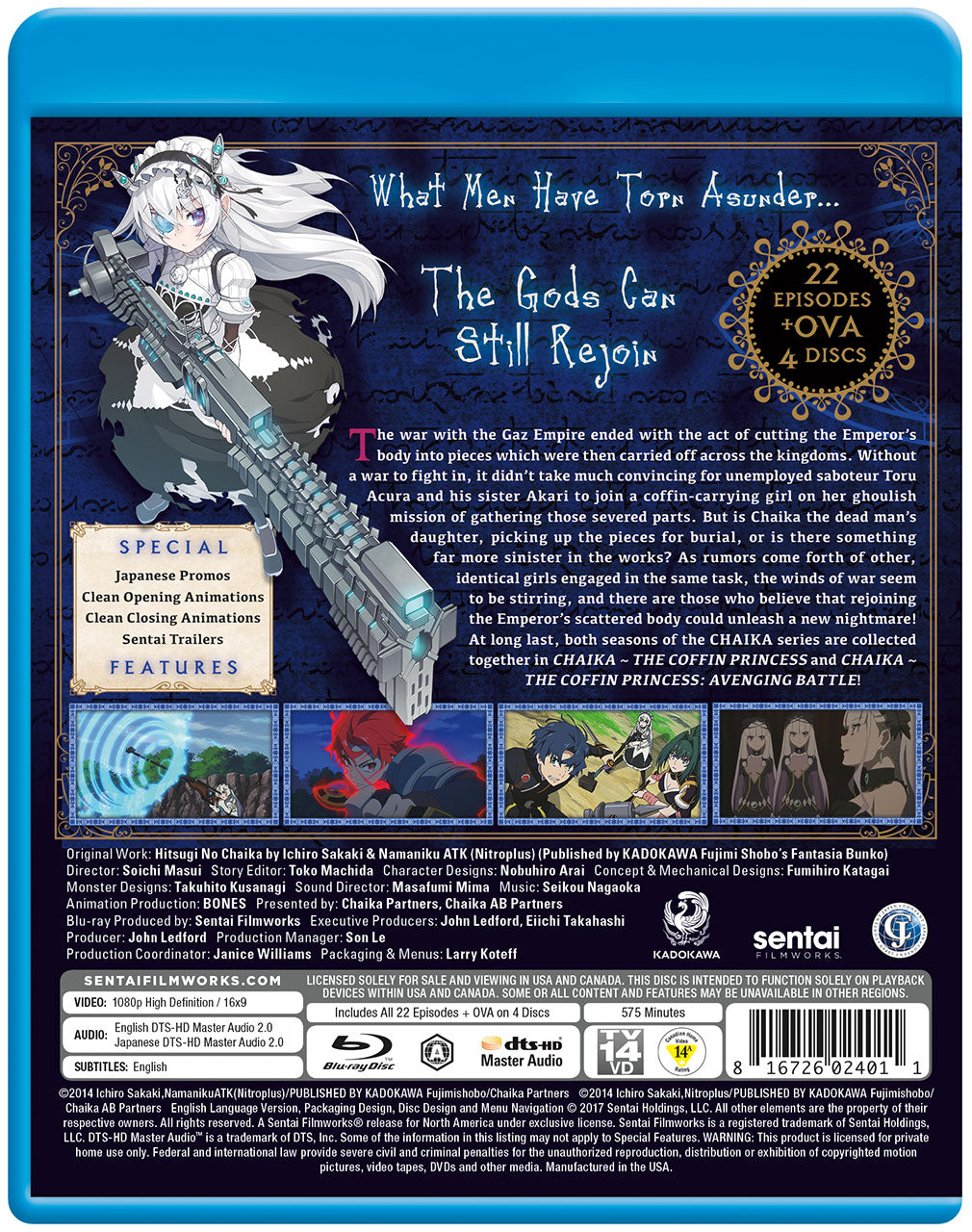 Chaika the Coffin Princess Complete Series Blu-ray Back Cover