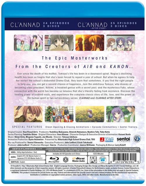 CLANNAD / CLANNAD AFTER STORY Complete Collection Blu-ray Back Cover