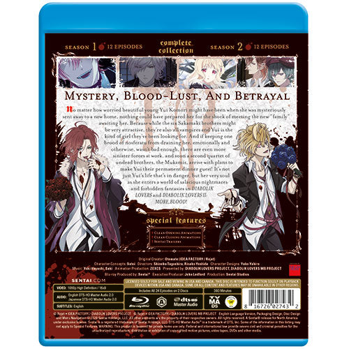 Diabolik Lovers Seasons 1 & 2 Complete Collection Blu-ray Back Cover